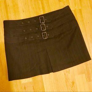 Express Pinstripe Triple Buckle Mini Skirt